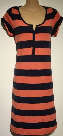 BLOOMING MARVELLOUS MOTHERCARE NAVY ORANGE STRIPE NURSING NIGHTIE/NIGHTDRESS SIZE M 12